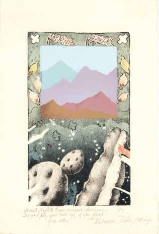 Untitled (Secret flights have carried dreams-if you fly you take off, if you float you stay), 1980; Lithograph, screen print; Image: 6 1/4 x 4 1/4 inches