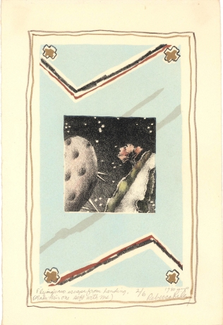 Untitled [Flying's no escape from landing, (make this one soft with me)], 1980; Lithograph, screen print; Image: 7 x 4 1/2 inches