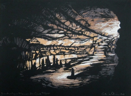 Catherine Chauvin; Kentucky-Mammoth Cave, 2011; linocut; image: 11 x 15 inches