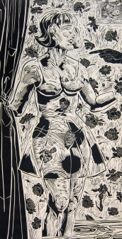 Karin Broker (born 1950); Bad Girl, 1995: linocut; image: 71 x 36 inches