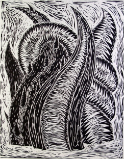 Kenneth Hale (born 1949); untitled, 1986; linocut; image: 32 x 24 1/2 inches