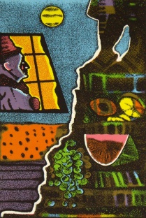 Clown at the Night Watch, 1999; Screen print; Image: 505x301 mm
