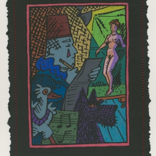 Clown in the Life Class, 1993; Monoprint, screen print, hand coloring; Image: 240x185 mm