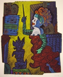 Clown's Bride with Singing Terrier, 1995; Screen print; Image: 750x620 mm