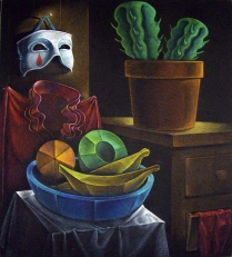 Clown's Closet (with wooden fruit), 1995; Oil pastel, thread; Image: 908x768 mm