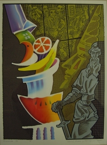 Clown's Dream of Still Life and Saints, 1998; Screen print, airbrush stencil pochoir; Image: 449x334 mm