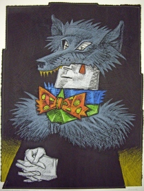 Clowns in Wolf's Clothing, 1994; Screen print, drawing, sewing; Image: 944x705 mm