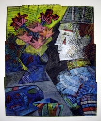 Clown's Table, 1995; Oil pastel, thread, screen print; Image: 913x728 mm