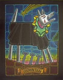 Stained Glass Clown Dog, 1998; Prismacolor; Image: 821x605 mm