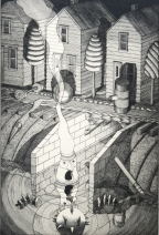 Night Watchman (state two), 1996; Drypoint; Image:335mm x 223mm