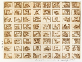 Stamps of Heroes and Monsters, 1980; Etching; Image: 200mm x 269mm