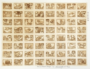 Men and Beasts Stamps, 1980; Etching; Image: 451 mm x 591 mm
