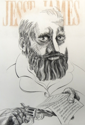 History Lesson: Jesse James, 1995; Engraving; Image: 451 mm x 591 mm