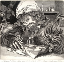 Albrecht Durer Engraves His Initials, 2008; Engraving; Image: 451 mm x 591 mm