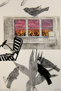 Margaret Craig; Bad Birds: Birds of Paradise, 1996; Photo etching, digital transfer, chine colle; Image: 558 mm x 378 mm