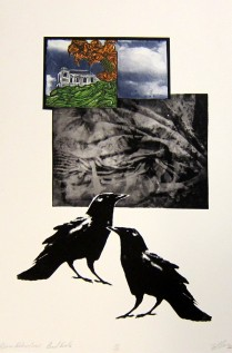 Margaret Craig; Bad Birds: Above Below Crow, 1996; Photo etching, digital transfer, chire colle; Image: 557 mm x 379 mm