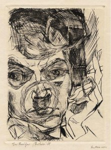 Max Beckmann; Der Raucher,  Selbstbildnis (The Smoker, Self-portrait), 1916; Drypoint; Image: 173 x 125 mm (Reproduced from http://www.germanexpressionism.com/)