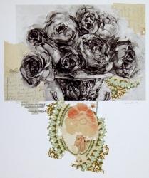 Dark Talk, 2010; Photogravure, collage; Image: 451 mm x 591 mm