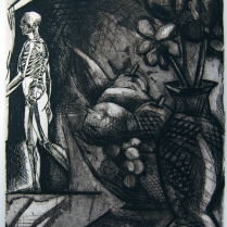 Exit Stage Left, 1985; Intaglio; Image: 354 mm x 278 mm