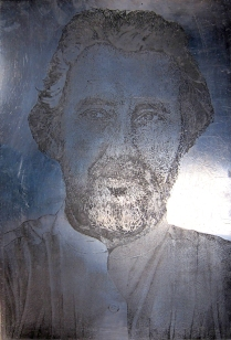 Matrix for David Brauer and David Brauer with ice man, 1994; Zinc plate; 914 mm x 610 mm