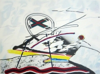 Clinton Cline; Cross Over, 2000; Lithograph; Image: 508 mm x 381 mm
