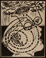 Don R. Schol; SOS from Vietnam Remembrances, 2009; wood relief print; 14x11 inches