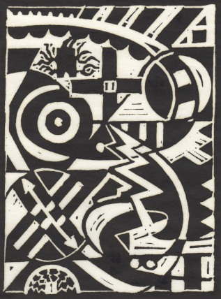 Don R. Schol; XXV, from Arrangements; linocut; 7 7/8x6 inches