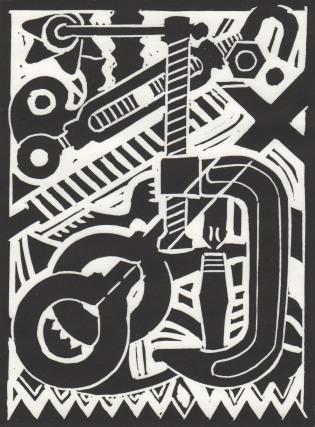 Don R. Schol; XXVII, from Arrangements; linocut; 7 7/8x6 inches