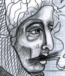 Outcast drawing detail 3; Graphite
