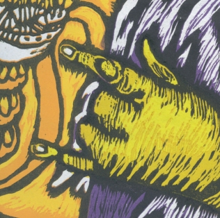 Outcast detail 1; Woodcut;