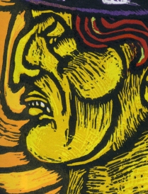 Outcast detail 2; Woodcut
