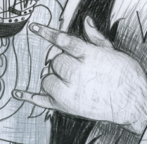 Outcast drawing detail 1; Graphite