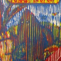 E. 6th Street (Daniel Smith Mediterranean Blue), detail 2; Woodcut