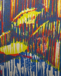 E. 6th Street (Daniel Smith Mediterranean Blue), detail 3; Woodcut
