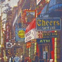 E. 6th Street (Daniel Smith Mediterranean Blue), 2014; Woodcut; Image: 36 x 24 inches