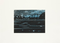 Missouri Bridge, 2012; Woodcut; Paper: 22 1/2 x 31 inches