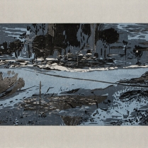 Waterway, 2013; Woodcut; Paper: 29 1/2 x 42 inches