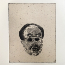 Hatari, 2009; Intaglio, chine colle; Image: 503 x 399 The elders thought that Hatari's face was hard to read, a mask of someone they did not know.