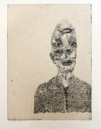 LukeLucas, 2009 Intaglio, chine colle Image: 610 x 440 Luke never saw a contradiction in his two lives. For him flipping houses and writing tell-all books amounted to the same thing.