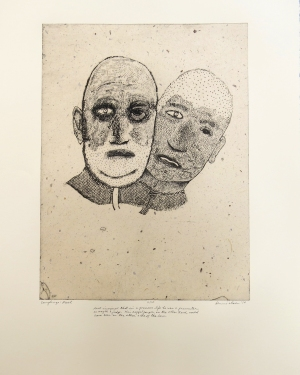 Axel, 2010; Intaglio, chine colle; Image: 508 x 380 Axel imagined that in a previous life he was a prosecutor, or maybe a judge. His doppelganger, on the other hand, would have been on the other side of the law.