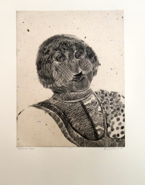 Pippin, 2009; Intaglio, chine colle; Image: 502 x 394 Every year on Bastille Day Pippin dresses for the occasion and amuses his friends with imitations of royalty.