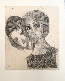 Priscilla and Patsy Pidgeon, 2011; Intaglio, chine colle; Image: 538 x 451 Something happened to the Pidgeon sisters. They haven't been seen since the last squaredance, do-si-do-ing in a provocative manner.