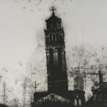 Santa Steffano w/ghost, 2002; Mezzotint; Object size: 83 1/2 x 42 inches