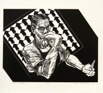 Self Portrait, 1994; Linocut; Object size: 11 x 14 inches