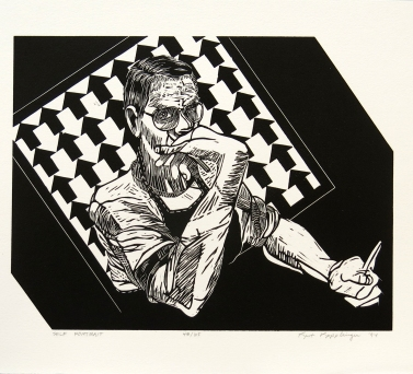 Self Portrait, 1994; Linocut; Object size: 11 x 14 inches