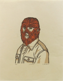 "Victor Ramão; Vincent, 2009; Linocut; Object size: 325 x 254 mm; from the ""The Anatomy of..."" portfolio"