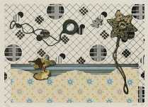 Untitled (curtain pulls), 1974; Lithograph; Object size: 385 x 482 mm