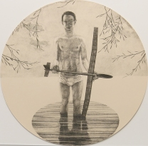 "John Driesbach; Brokenstraw Basin, 2014; Lithograph; Paper size: 370 mm diameter; from the portfolio, ""Mondo Tondo"""