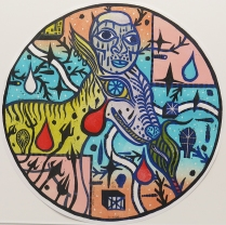 "Ricardo Vincente Jose Ruiz; Silent Trap, 2014; Woodcut; Paper size: 370 mm diameter; from the portfolio, ""Mondo Tondo"""