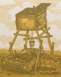 "Luke Ball; FIll, 2014; Linocut; Paper size: 355 x 280 mm; from, ""Trash: A Printmaking Portfolio Exchange"""